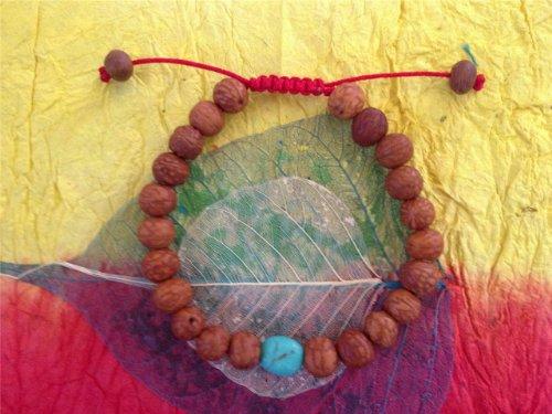 Tibetan Mala Raktu Seed Wrist Mala/ Bracelet with Turquoise Spacer BSM-21