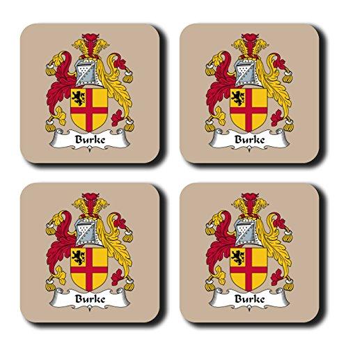 Burke Coat of Arms/Family Crest Coaster Set, by Carpe Diem Designs - Made in the U.S.A. (Burke Decor)