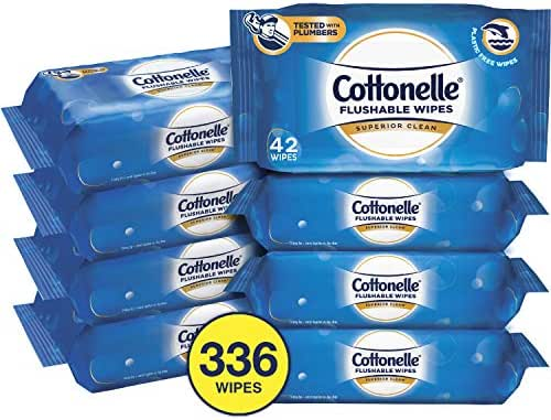 Cottonelle FreshCare Flushable Wipes for Adults, Wet Wipes, Alcohol Free, 336 Wet Wipes per Pack (Eight 42-Count Resealable Soft Packs)