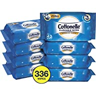 Cottonelle FreshCare Flushable Wipes for Adults, Wet Wipes, Alcohol Free, 336 Wet Wipes per Pack (Eight 42-Count Resealable Soft Packs), White