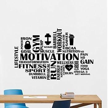 Motivation Fitness Words Cloud Gym Wall Decal Motivational Fitness Vinyl  Sticker Inspirational Wall Decor Fitness Motivation Quote Sport Wall Art  Training ...
