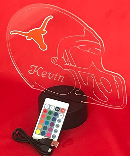 Texas Longhorns NCAA College Football Helmet Light Up Lamp University of Texas at Austin Longhorns Lamp LED Personalized, Our Newest Feature - It's Wow, Remote, 16 Colors, Free Engraved, Great Gift