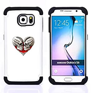 - SKULL DEATH HEART WHITE BIKER LOVE - - Doble capa caja de la armadura Defender FOR Samsung Galaxy S6 G9200 RetroCandy