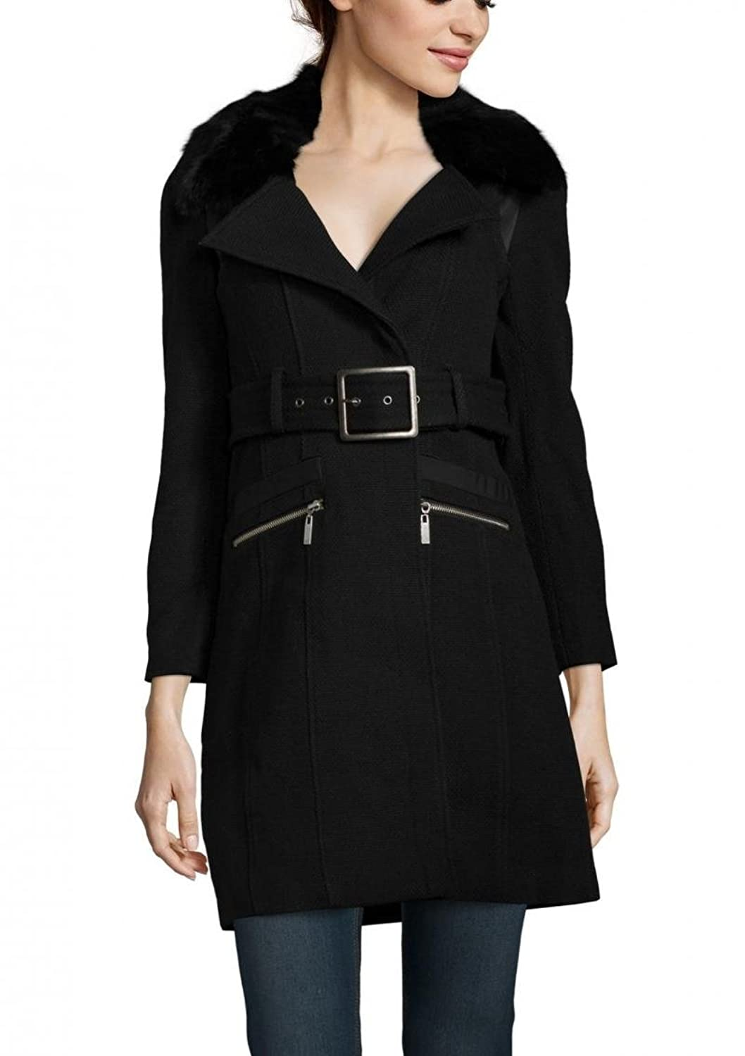 RUNWAY Belted Wool Peacoat with Pockets M Black