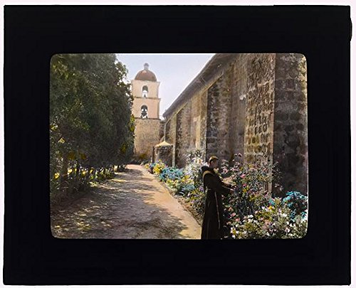 (Photo: Mission, 2201 Laguna Street, Santa Barbara, California, Friar in Garden, Spring 1917 .)