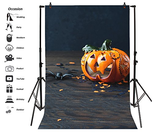 Leyiyi 3x5ft Photography Background Happy Halloween Party Backdrop Vintage Pumpkin Lantern Grunge Concrete Floor Horro Costume Night Carnival Spiders Gingerbread Photo Portrait Vinyl Studio Video (Sweet Greetings Gingerbread)
