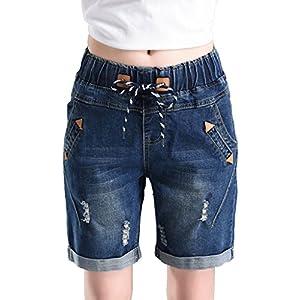 PHOENISING Women's Stylish Drawstring Pants Cute Bermuda Shorts Denim Fashion Short Jeans