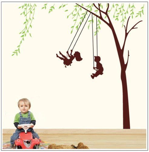 Good Life Tall Willow Children Playing on A Wing Wall Decal Huge Wall Decor Sticker