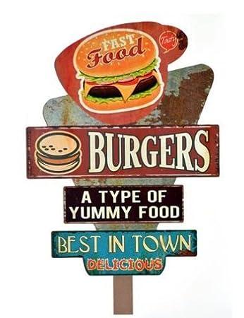 Schild Aus Holz Dekoration Wand Burger Coffee Burger Amazon De