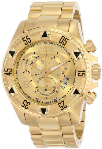 Mens Invicta Gold Plated - Invicta Men's 6471 Excursion Reserve Chronograph 18k Gold Ion-Plated Stainless Steel Watch