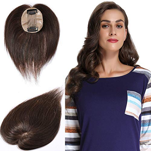 10 Inch 100% Real Human Hair Silk Base Top Hairpiece Clip in Topper Wig for Women Crown in Hand-made Toppee Middle Part with Thinning Hair Loss Hair #4 Midium Brown 20g