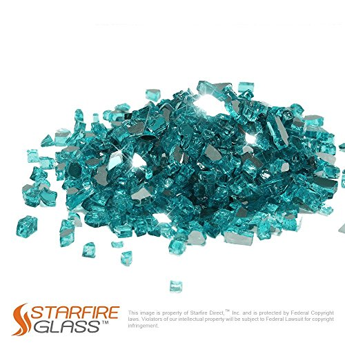Starfire Glass 10-Pound Fire Glass 1/2-Inch Caribbean Blue Reflective (Glass 1/2 Chips)