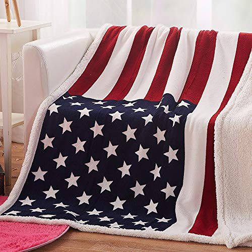 - USTIDE The American Flag Fleece Blanket Super Soft Sherpa Throw Blanket Comfort Caring Gift Blanket 51