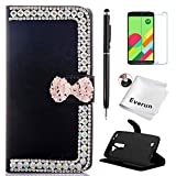 DROID MAXX 2 Case, Moto X Play Case, Everun Bling Wallet Card Slot PU Leather Flip Stand Case for DROID MAXX 2 / Moto X Play