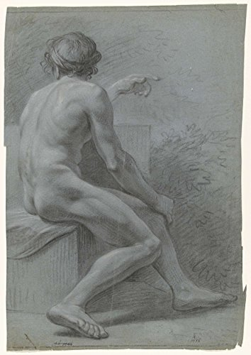 """Classic Art Poster - Seated male nude, right, seen from the back, anonymous, 1700 - 1800 17"""" x 24"""""""