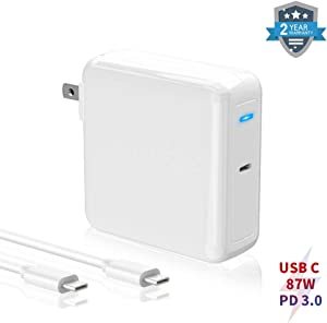 "87W USB C Charger Power Adapter, Replacement Mac Book Pro Charger 87W Type C PD Wall Charger Compatible with Mac Book Pro 13"" 15"" and Mac Book Air, Pad Pro,Samsung,Nexus,ASUS,Lenovo,Acer,Dell"