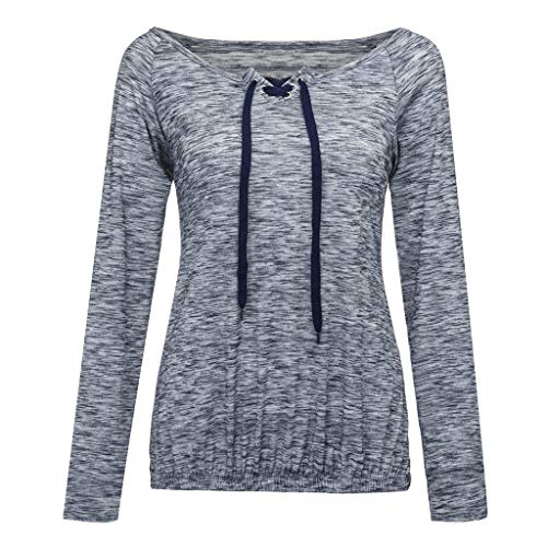 ANJUNIE Women Scoop Neck Top Solid Long Sleeve Cross Lace Up Grommet Casual Loose Seamless Pullover ()