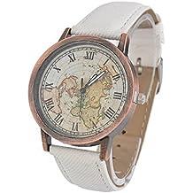Souarts Womens Artificial Leather World Map Pattern Round Quartz Wrist Watch 24cm