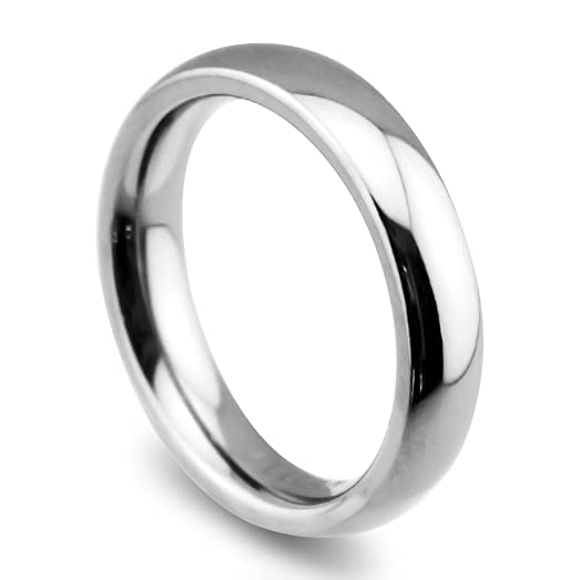 bright and high strength domed titanium rings classic wedding bands white couple rings 4mm 105 - Classic Wedding Rings