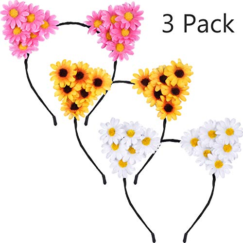 3 Pieces Daisy Flower Cat Ears Headbands Sunflower Headband Daisy Floral Headband for Women Girls Halloween Festival Party Props -