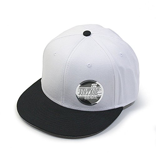 Premium Plain Cotton Twill Adjustable Flat Bill Snapback Hats Baseball Caps (Varied Colors) (Black/White)