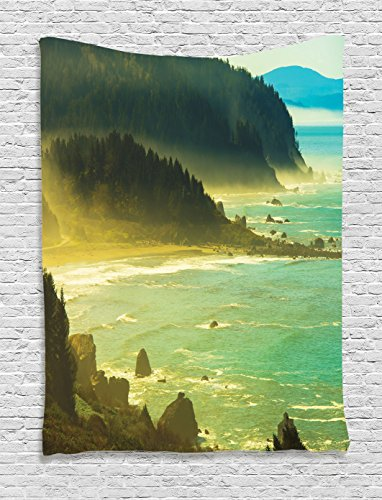 Ambesonne Americana Landscape Decor Tapestry by, Foggy Redwood Pacific Ocean in Mist Windy Day Crescent Shore Picture, Wall Hanging for Bedroom Living Room Dorm, 60WX80L Inches, Green