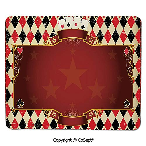 - Quality Selection Comfortable Mouse Pad,Casino Inspired Checkered Framework Stars Swirls Vintage Print Decorative,for Computer,Laptop,Home,Office & Travel(15.74
