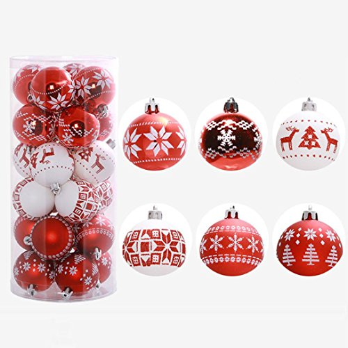Fheaven 6cm 24PC Christmas Tree Decor Xmas Baubles Balls Decorations Party Wedding Ornament 6cm (Red) (Bauble Decoration)