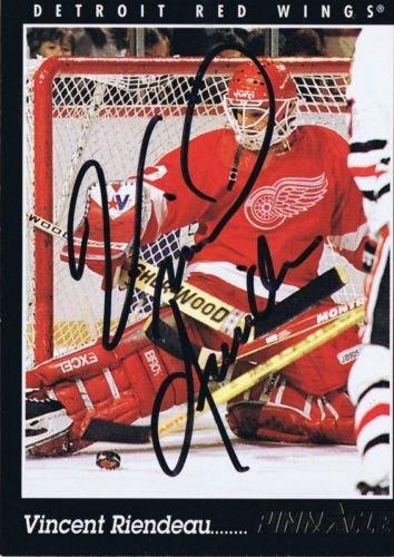 (Vincent Riendeau 1993 Pinnacle Autograph #312 Red Wings)