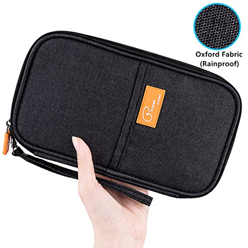 Passport Wallet, Travel Wallets, Passport Holder With Hand Strap, Stylish Credit Card Wallet For Men & Women, Trip Document Organizer Fits Your Phone And Tickets, by VanFn P.Travel Series (Black) by VanFn (Image #2)