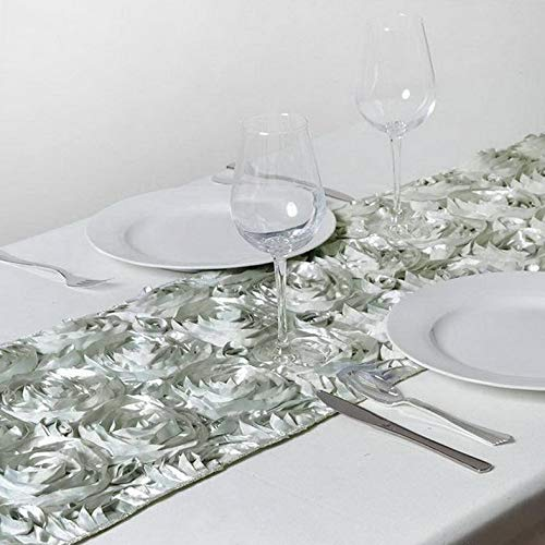 Mikash 12 pcs 14 x 108 Ribbon Roses Table Runners Wedding Party Catering Decorations   Model WDDNGDCRTN - 16488   ()