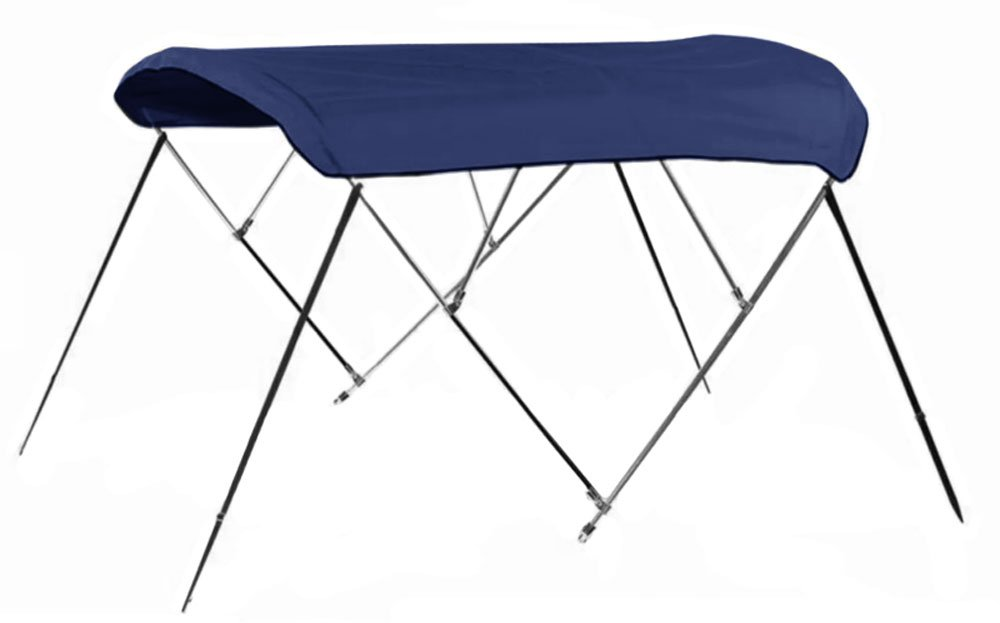 Bimini Top Boat Cover 54'' H X 91''-96'' W 4 Bow 8 Foot Long Solution Dye Navy Blue