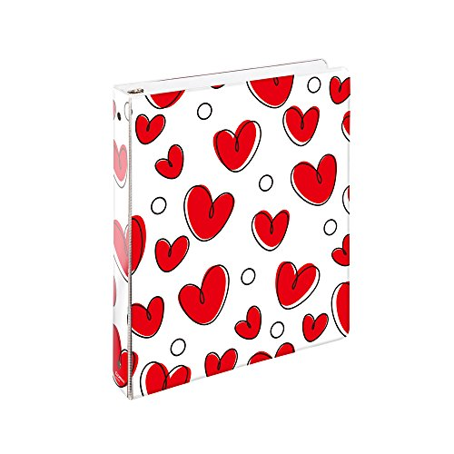 COMIXCOMIX 2 Pack Letter Size, Heavy Duty Premium Designer 3 Round Ring Binder 1 Inch, (A2134) BACK TO SCHOOL/CAMPUS (Sweet Hearts)