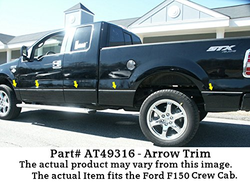3//8 wide -Stainless Steel ACCENT Fits 2009-2014 FORD F150 Crew Cab NO Flares