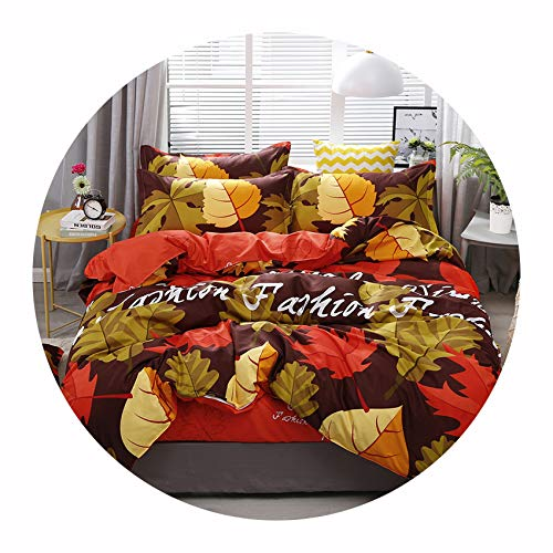 Victoria-show-bedspread-sets New Maple Leaf Printing Bedding Set Bed Linings Duvet Cover Bed Sheet Pillowcases Cover Set,for 2.2m Width - Bed Bunk Size Maple Twin