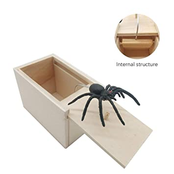 Surprise Spider in Wooden Box Gag Gift Practical Joke Prank Toy Scare Trick CHIC