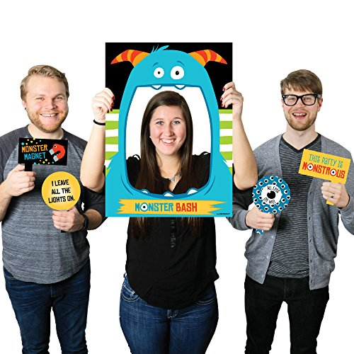 Monster Bash - Little Monster Birthday Party or Baby Shower Photo Booth Picture Frame & Props - Printed on Sturdy Material (Monster Photo Booth Props)