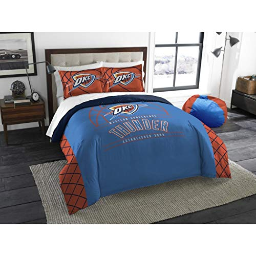 - UNK 3pc NBA Oklahoma City Thunder Comforter Full Queen Set, Basketball Themed, Team Logo, National Basketball League, Team Spirit, Sports Patterned Bedding, Fan Merchandise, Orange Blue