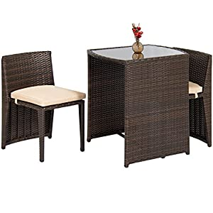 Best Choice Products 3-Piece Wicker Bistro Set w/Glass Top Table, 2 Chairs, Space Saving Design - Brown