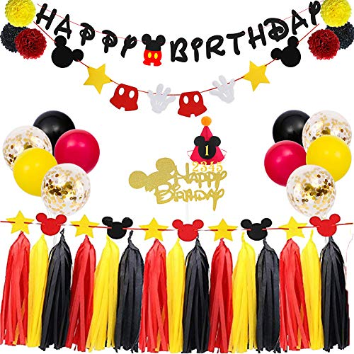 Mickey First Birthday Decorations (TownLights Birthday Decorations Mickey Mouse Kit,Birthday Party Supplies,Birthday Banner and Garland,Mickey Mouse Hat and Cake Topper For Baby Shower Girl Boy Birthday Red Black and Yellow Party)