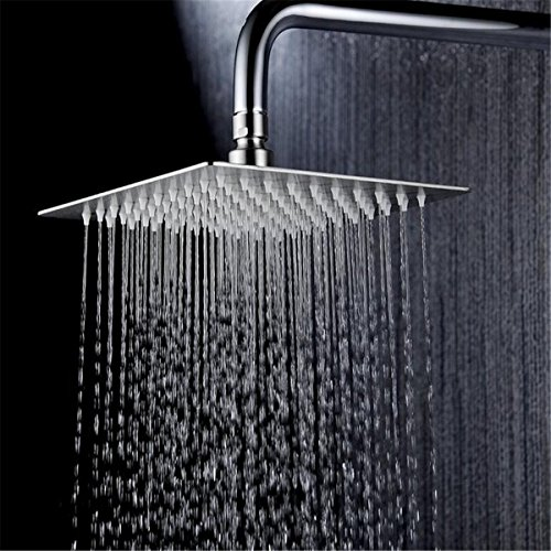 Chrome Self Cleaning Range - Rainfall Shower Head-Square Ultra Thin 304 Stainless Steel 6 Inch Adjustable Waterfall Shower Head with 64pcs Silicone Nozzle,Tool Free