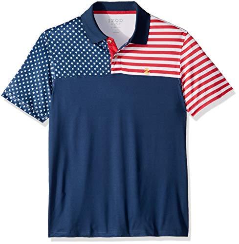 IZOD Men's Golf Fashion Short Sleeve Polo Shirt, Club Blue, Large