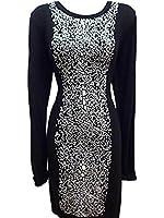 French Connection Women's Black White Geometric Print L/S Stretch Sweater Dress 12