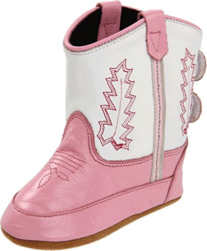 Old West Kids Boots Baby Girl's Poppets (Infant/Toddler) Pink/White Boot 4 Toddler (Pink And White Cowboy Boots)