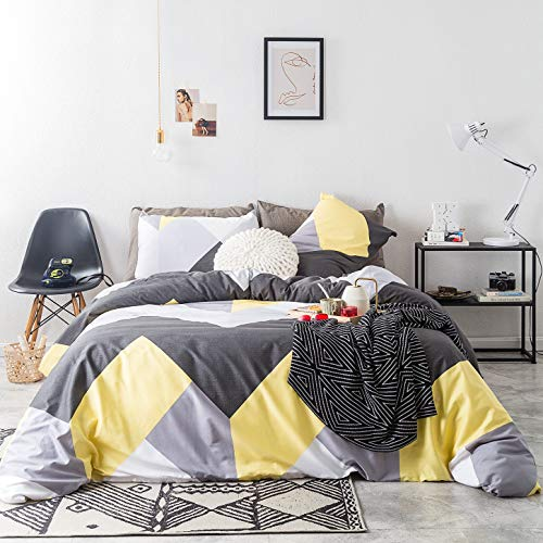 SUSYBAO 3 Piece Duvet Cover Set 100% Natural Cotton Queen Size Grey and Yellow Geometric Bedding Set with Zipper Ties 1 Silver Chevron Duvet Cover 2 Pillowcases Hotel Quality Soft Luxurious Durable (And Cover Yellow Grey Duvet)