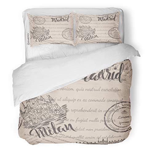 Emvency Decor Duvet Cover Set Twin Size Milan Cathedral Lettering Royal Palace of Madrid and Faded Text Attraction 3 Piece Brushed Microfiber Fabric Print Bedding Set Cover]()