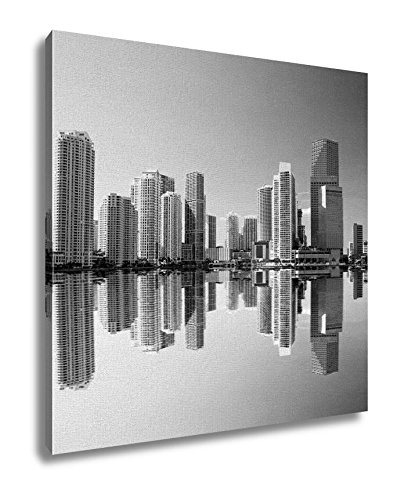 Ashley Canvas, The Highrise Buildings In Downtown Miami, Black and White, 24x24, AG6452161