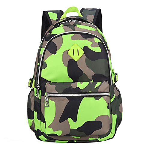 Ladyzone Camo School Backpack Lightweight Schoolbag Travel Camp Outdoor Daypack Bookbag for Your Children (Camouflage Green(NS)) (Strip Opening Tear)