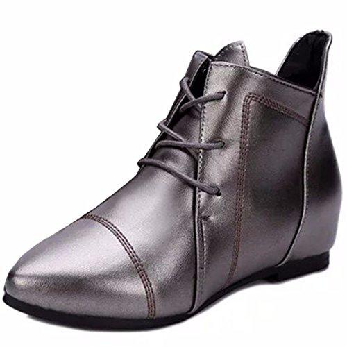 En invierno y en invierno, zapatos de mujer lace up, Martin botas, señaló la mujer pasadores, grandes patios y botas cortas silvery
