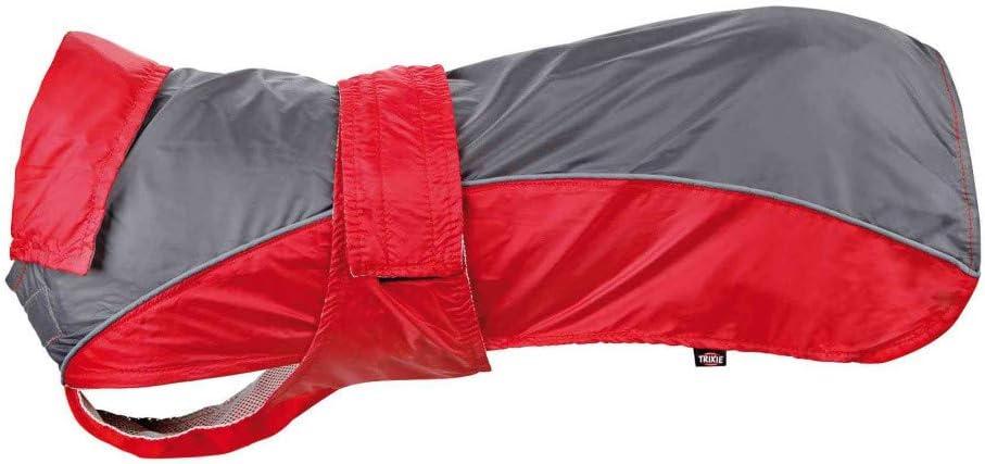 TRIXIE Abrigo Impermeable Lorient, S, 35 cm, Rojo-Gris, Perro